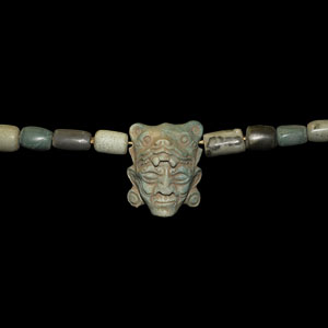 Mayan Bead Necklace with Mask Pendant