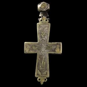 Byzantine Gilt Silver Reliquary Cross Pendant