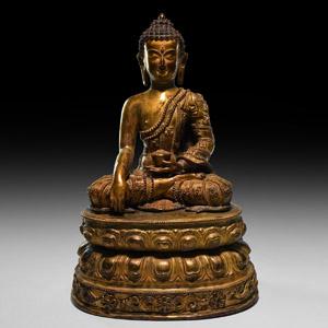 Large Sino-Tibetan Gilt Sitting Buddha Figure