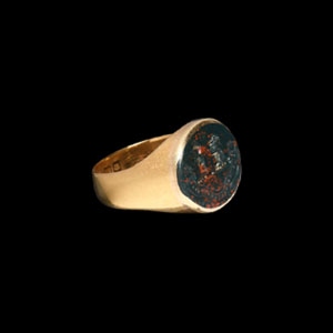 Post Medieval Gold Ring with Heraldic Gemstone