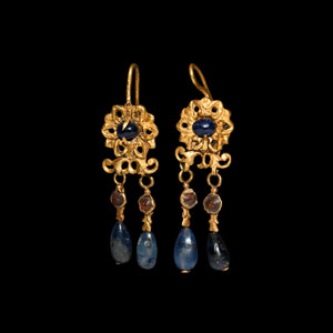 Gold Floral Earrings with Large Sapphire Drops