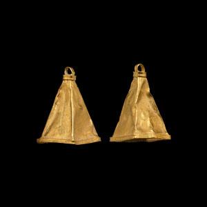 Gold Bell Pendant Pair