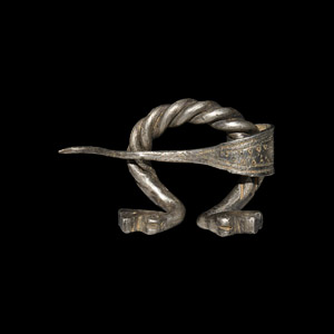 Viking Silver Penannular Brooch with Dragon Heads