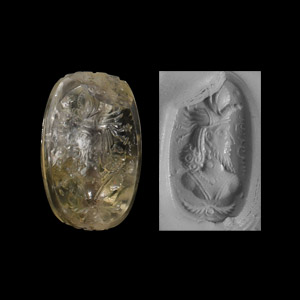 Western Asiatic Sassanian Crystal Stamp Seal with King