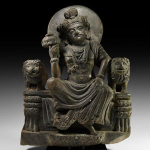 Buddha Seated Between Lions