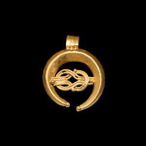 Gold Lunate Pendant with Knot