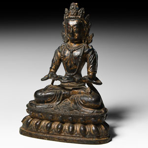 Chinese Ming Gilt Meditating Buddha Figure