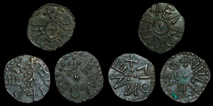 British Anglo-Saxon  - Northumbria - 3 Aethelred II Stycas - MONNE, WVLFRED and EARDWVLF