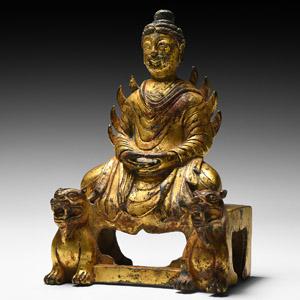Wei Gilt Silk Road Buddha in Meditation on Lion Throne