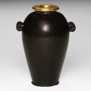 Egyptian Black Stone Jar with Gold Rim