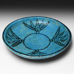 Egyptian Blue Faience Dish with Lotus Decoration