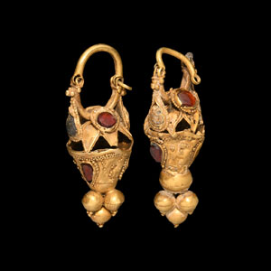 Gold and Gemstone Earring Pair