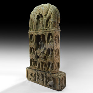 Inscribed Buddhist Votive Stele with Dragons