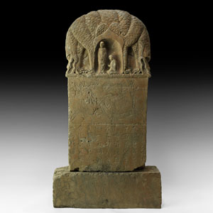 Chinese Inscribed Buddhist Votive Stele with Dragons