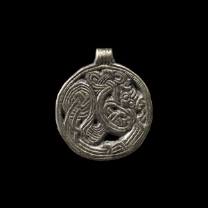 Silver Borre-Style Pendant with Beast