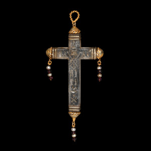 Crystal and Gold Cross Pendant