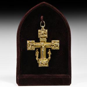 Medieval Gilt Silver Reliquary Cross Pendant