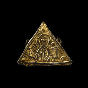 Medieval Gilt Pendant with Saint