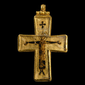 Byzantine Gold and Rock Crystal Crucifix