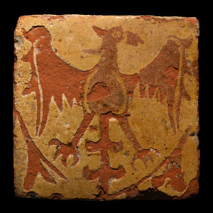 Medieval English Floor Tile with Spread Eagle