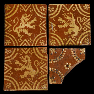 Post Medieval Flanders Lion Tile Collection