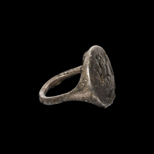 Silver Ring with Hunting Scene