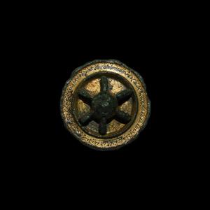 Gilt Wheel Brooch