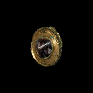 Gilt Jewelled Umbonate Brooch