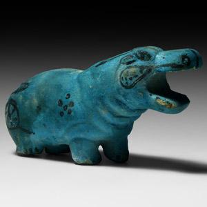 Blue Glazed Hippopotamus Figure