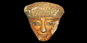 Egyptian Gilded Wooden Female Sarcophagus Mask