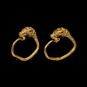 Gold Lion Earring Pair