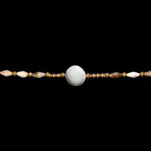Gold and Agate Bead Necklace