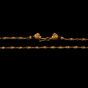 Hellenistic Gold and Lapis Lazuli Bead Necklace with Beast Head Terminals