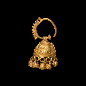 Gold Bell-Shaped Earring with Pendants