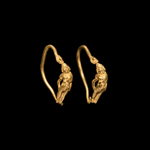 Gold Earrings with Eros
