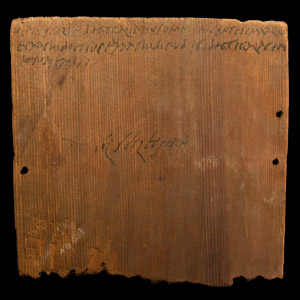 Inked Wooden Tablet Documenting Property Owned by Pomponius Servandus