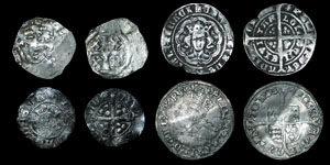 English Medieval - 4 Coins - Henry II Tealby Penny, Edward I Penny, Edward III Halfgroat, Philip and Mary Groat