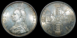 English Milled Victoria - 1887 - Arabic Double Florin