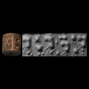 Western Asiatic Jemdet Nasr  Type Cylinder Seal with Seated Women with Pigtails and Pots