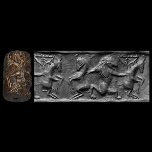 Western Asiatic Cylinder Seal with Lions and Bulls Fighting
