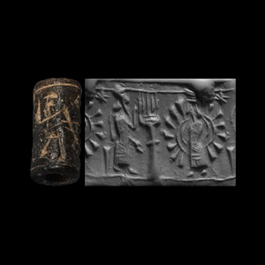 Western Asiatic Neo-Assyrian Cylinder Seal with Fire-Altar, Nimbate Deity, Ishtar and Nabu