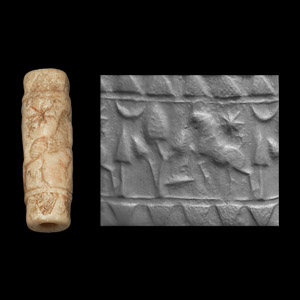 Western Asiatic Cylinder Seal with Animals, Tree and Star