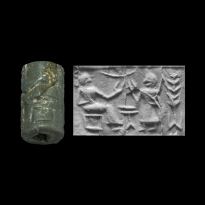 Western Asiatic Post Akkadian Cylinder Seal with Robed Figures Beside Table