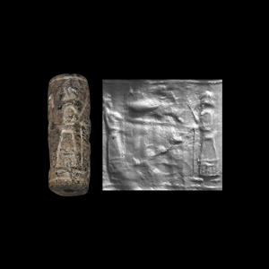 Western Asiatic Cylinder Seal with Figures and Offering Table