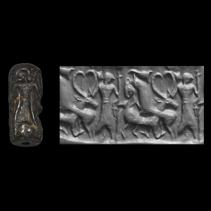 Western Asiatic Cylinder Seal with Hero and Lion