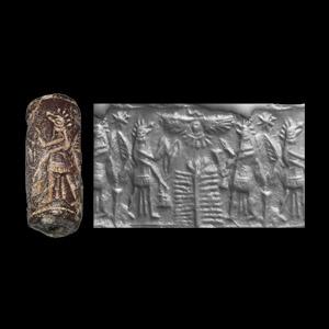 Western Asiatic Cylinder Seal with Bird-Headed Genie