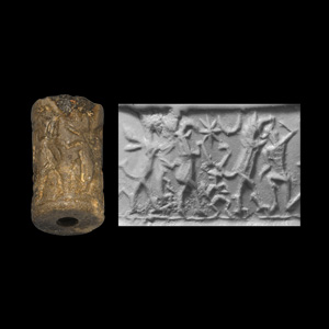 Western Asiatic Cylinder Seal with Hero and Winged Griffin