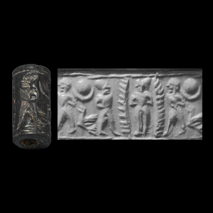 Western Asiatic Cylinder Seal with Nude Goddess