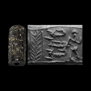Western Asiatic Levantine Cylinder Seal with Tree and Figure