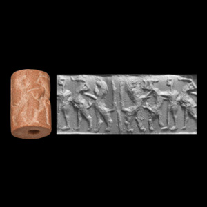 Western Asiatic Akkadian Cylinder Seal with Hero Succouring Animal
